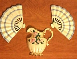 Burwood #2811 Pitcher & 2 Fan's Plaque Blue Pink Tan Set USA - $19.79