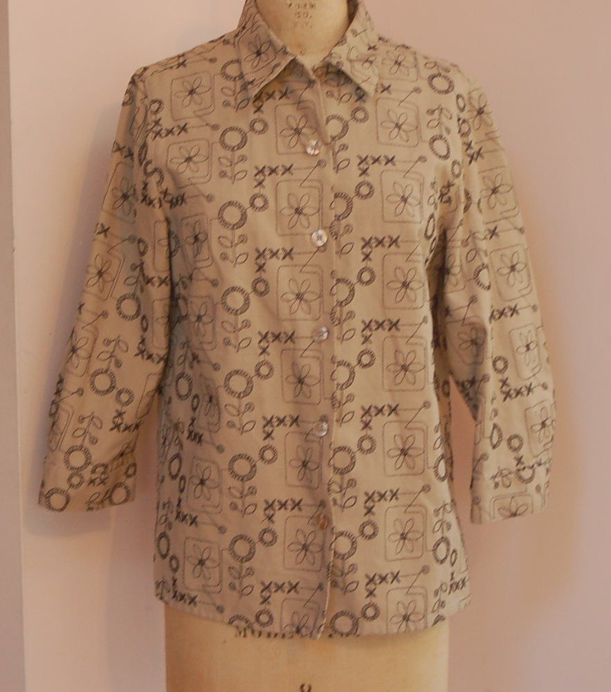 Alfred dunner size 8 tan womens button up embroidered for Linen button up shirt womens