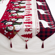Christmas Table Runner European Embroidered Hollow Santa Table Textile  - $14.00