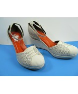 Cole Haan Womens Wedge Size 9 B Canvas Snake Ankle Strap NikeAir Tan Cob... - $13.97