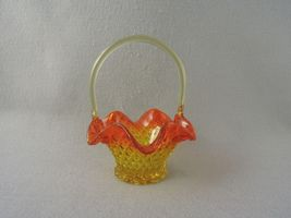 Vintage Glass Basket Amberina Diamond Cut  Applied Handle 8 Inches Tall - $46.90
