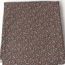 Vintage 100% Cotton Quilt Fabric USA Flower on Brown Field Pattern - $9.40