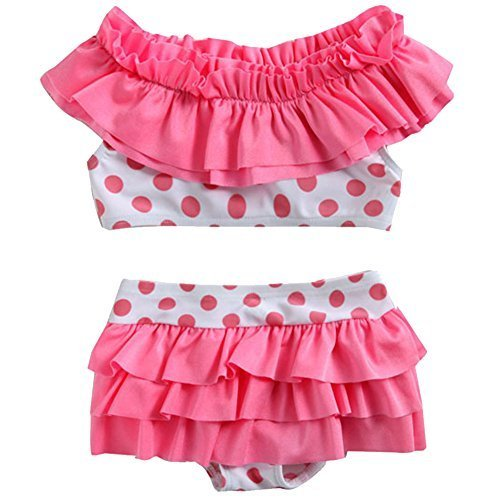 Cute Baby Girls Pink Bikini Beach Suit Lovely Swimsuit 1-2 Years Old(80-90cm)