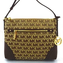 AUTHENTIC NEW NWT MICHAEL KORS $228 FALLON BROWN SIGNATURE CROSSBODY BAG - $99.99