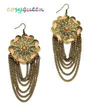 Gorgeous large bronze lace flower cut out hanging chain drop pierced ear... - ₹1,367.54 INR
