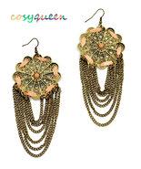 Gorgeous large bronze lace flower cut out hanging chain drop pierced ear... - $19.00