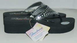 Skechers 38494 Yoga Foam Flip Flops Color Black Clear Rhinestones image 2