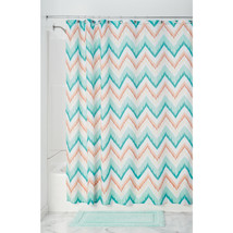 InterDesign Ikat Chevron Fabric Shower Curtain, Coral/Teal - $18.95