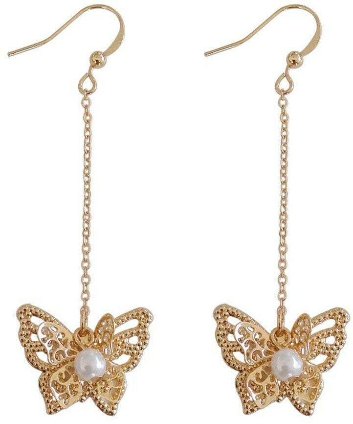 Primary image for 18K Gold Plated Hollow Beads Side Butterfly With Pearls Long Tassel Dangle Drop