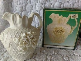 Jade Collection Vase Pitcher Floral Etched - $14.54