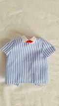 Vintage Black Label Ken Doll Striped Dress Shirt, Mattel, Bow Tie, Blue White - $4.94