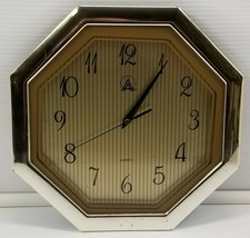 """Silver Gold Octagon Quartz Battery Operated Plastic Wall 11"""" Analog Clock - $5.93"""