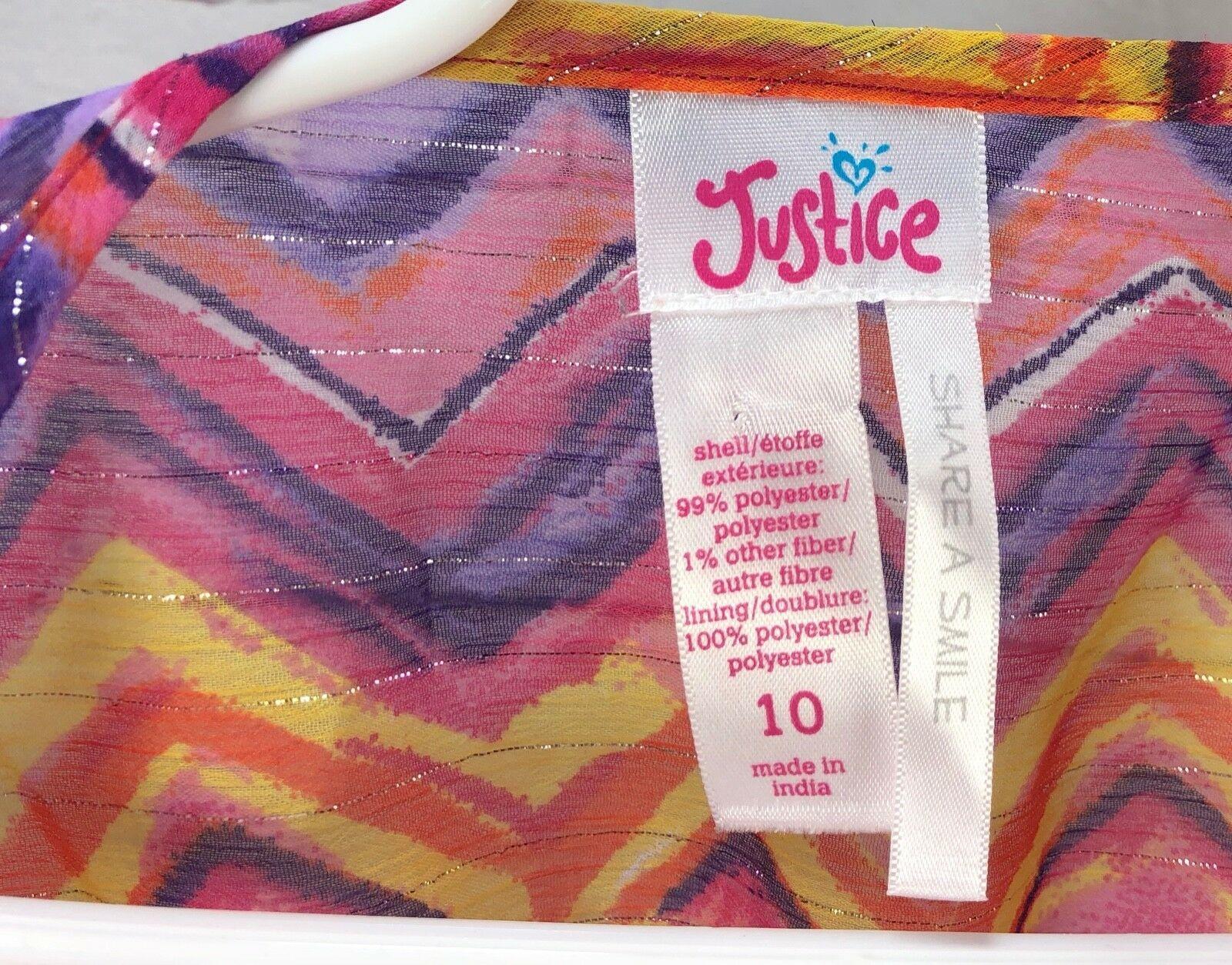 Justice Outfit Set - Boho Flowing Loose Poncho Top + Jean Skirt Skort Sz 10 image 10