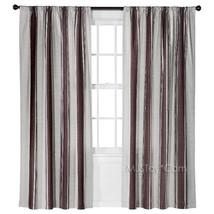 NEW Threshold One Window Treatment Panel Deep Red Awning Stripe Curtain 54x84 - $29.99