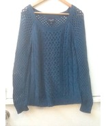 American Eagle Outfitters Blue Open Knit Long Sleeved Sweater Size M Medium - $18.95