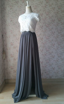 Split Maxi Chiffon Skirt Blue Gray White Wedding Chiffon Skirt Bridesmaid Outfit image 5