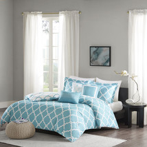 Aqua Blue White Reversible Geometric Fretwork Modern Duvet Cover Set + P... - $80.68+