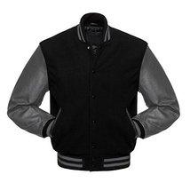 Maximos USA Men's Premium Vintage Baseball Letterman Varsity Jacket (2XL, Black