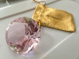 Large, About 2in Faux Glass Pink Diamond, Paper Weight with Gold Pouch - $11.35
