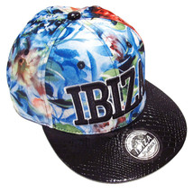 Ibiza Snapback Cap Blue Wilderness Flowers Trucker Hat Red Black Faux Le... - $42.12