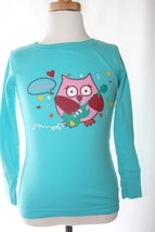 EUC GAP KIDS Turquoise Top Ready to Rock Owl Girls Size 6 pajama Top - $4.94