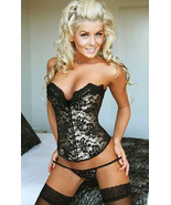 Black Sweetheart Satin Corset with Black Lace O... - $30.99