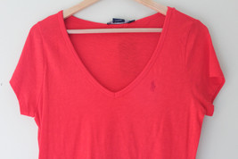 NWT Ralph Lauren Sport Cotton V-Neck T-Shirt Red Hibiscus Knit Top L $58 - $23.40