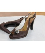 STUART WEITZMAN SIZE 6 BROWN HIGH HEEL SATIN SILK EVENING BRIDAL PLATFOR... - $28.71