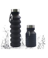 Collapsible Water Bottle Silicone 18oz Leakproof Portable BPA Free w/ Carabiner - $11.99