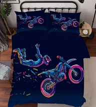 3D Motorcyclist Bed Pillowcases Quilt Duvet Cover Set Single Queen King Size AU - $64.32+