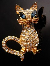 Vintage Rhinestone Cat Brooch - Big Blue eye - Figural jewelry - gold ca... - $60.00