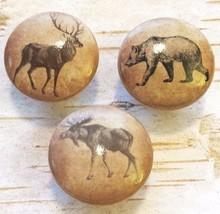 "3 Handmade 1.5"" Wildlife Animals Birch Knobs, Lodge Decor, Wild Animal K... - $17.82"