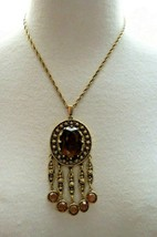 """Goldette Bezel Set Purple Glass Pendant Necklace 18"""" Chain Gold Antiqued... - $69.29"""