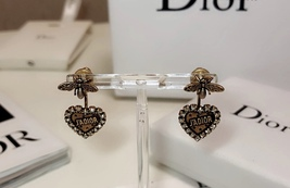 AUTHENTIC Christian Dior 2019 J'ADIOR Heart Crystal Dangle Earrings Wasp Gold image 5