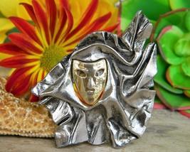 Mardi Gras Carnival Masquerade Mask Brooch Pin Gold Silver Ruffles - $19.95