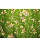 Vintage Yellow Tan Flowers on Green Fabric 4 yd - $11.95