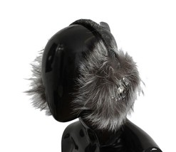Dolce & Gabbana Gray Fox Fur Crystal Ear Muffs - $524.29