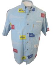Columbia River Lodge Men shirt Hawaiian s/s p2p24 M vintage fish cocktai... - $24.74