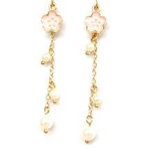 Lovely Tiny Sakura Flower Pearl Long Chain Romantic Drop Dangle Earrings... - $8.99