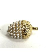 Vintage Acorn Brooch Pin Goldtone Faux Pearl Fall Autumn Nature Jewelry - $8.90