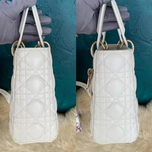 100% AUTH Christian Dior White Lady Dior Cannage Lambskin Shoulder Tote Bag GHW image 5