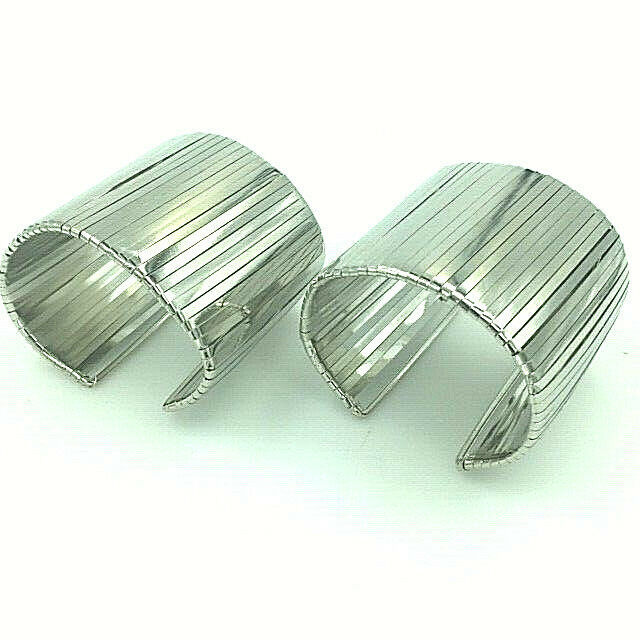 Primary image for Pair of Warrior Woman Steel Cuff Bracelets Chrome