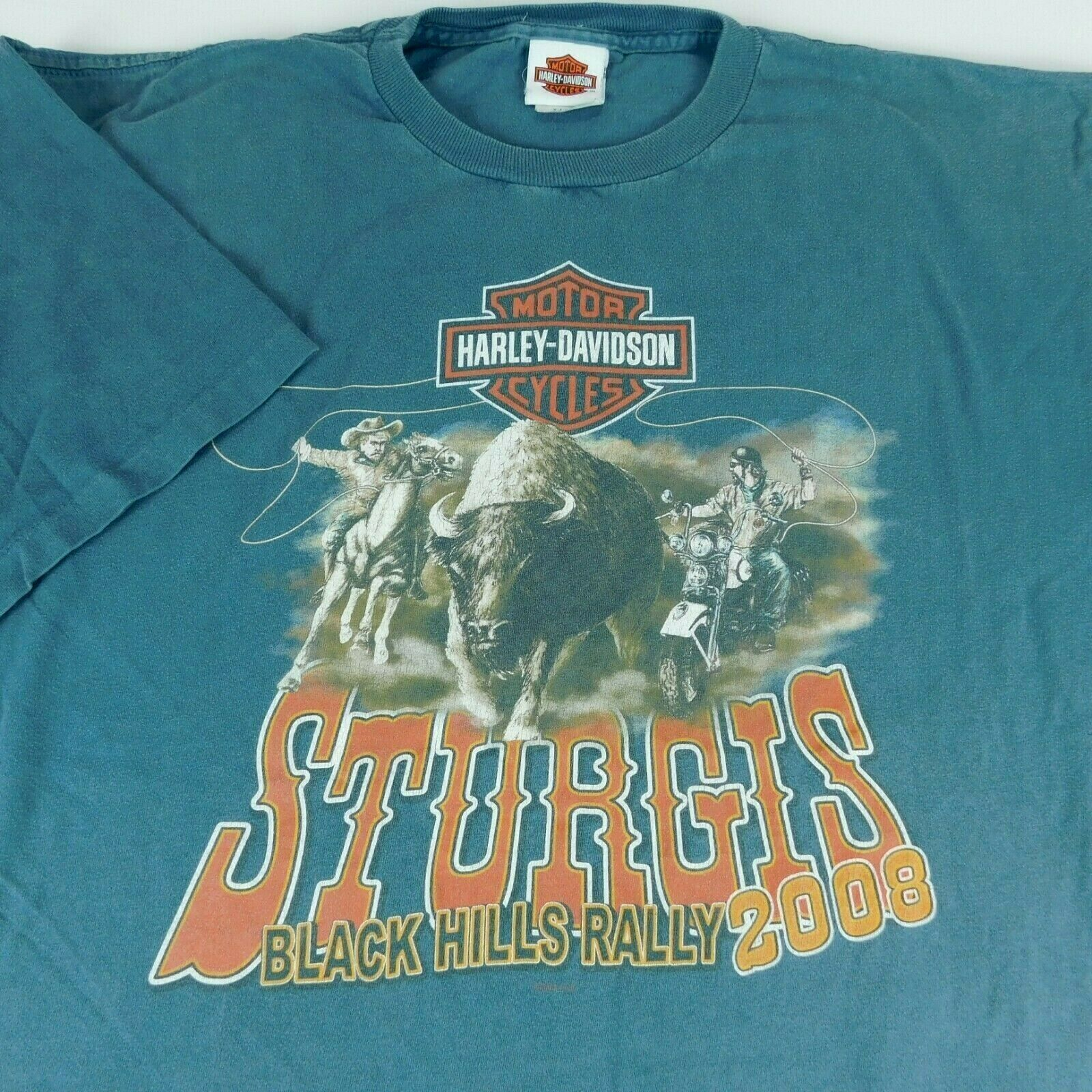 Harley Davidson Sturgis Black Hills Rally 2008 Buffalo Chip Blue T Shirt Sz XL image 2