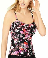 Island Escape Tankini Top Black Pink Floral Size 6 Tahiti Bandini New  - $11.84
