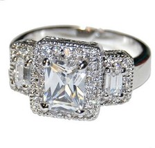 Pave & Clear Emerald Cut Cubic Zirconia Wedding Ring - $29.99