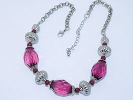 Vtg.  Purple Amethyst  stone and Simulated Sterling  Necklace  ''STUNNING'' - $12.16