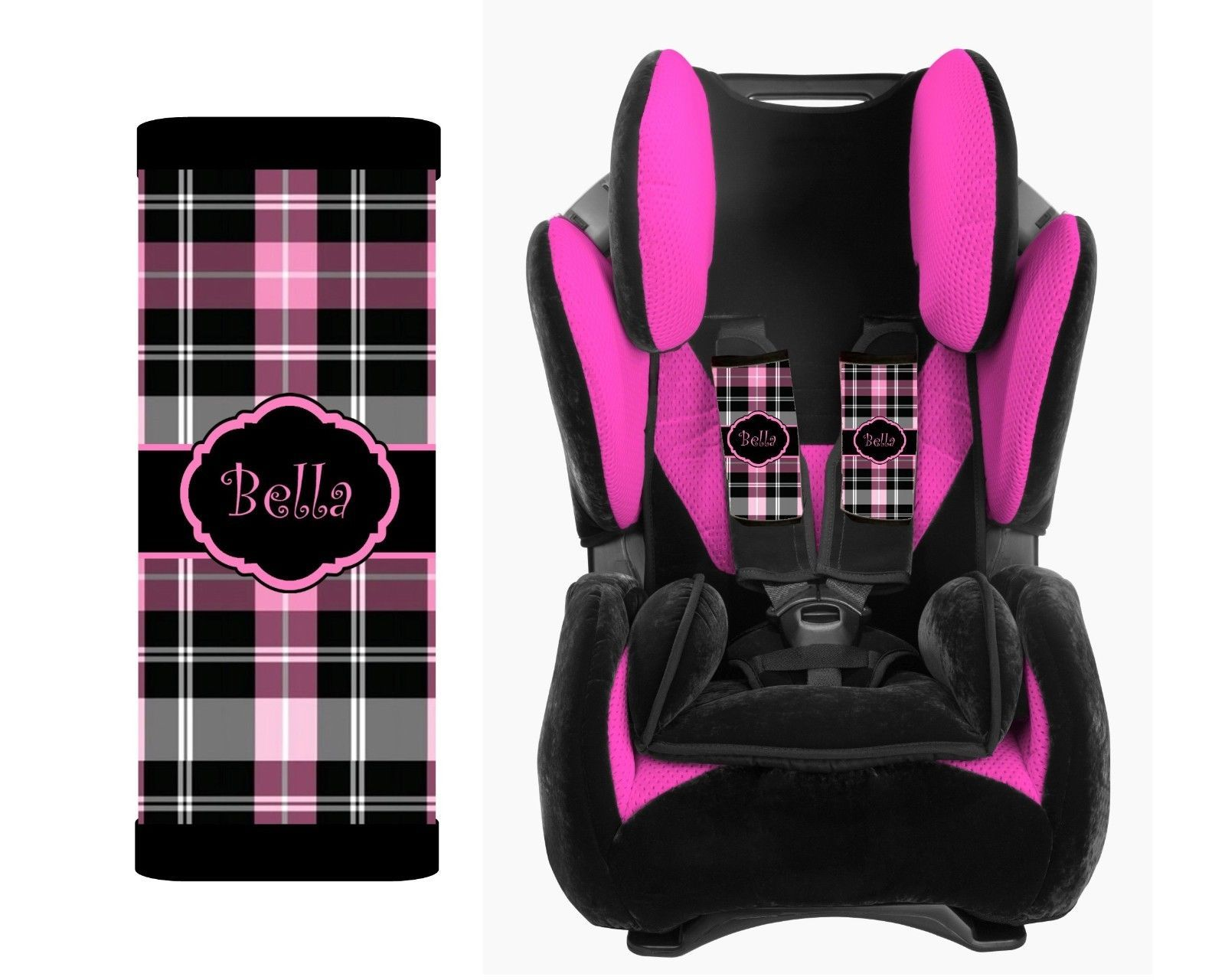 personalized baby toddler car seat strap covers black hot pink plaid e1125165022660869m. Black Bedroom Furniture Sets. Home Design Ideas