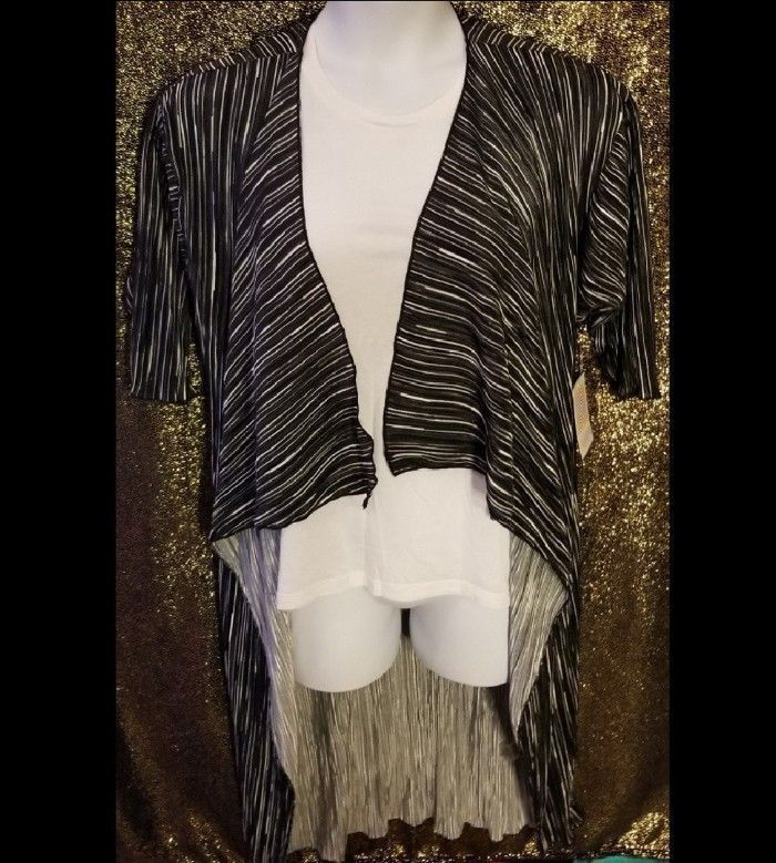 LuLaRoe Shirley Shiny Duster Striped Kimono Open S Black White Gray