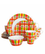 Oui by French Bull Multicolor Plaid 16 Piece Round Porcelain Dinnerware Set - $106.30