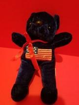 Toy Holiday Plush Dark Blue Teddy Bear Patriotic Stuffed Animal US Flag ... - $5.69